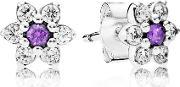 Pandora , Silver Cubic Zirconia Forget Me Not Stud Earrings 290690acz