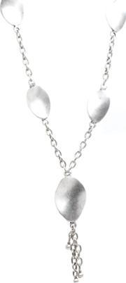 Pasha , Silver Plated Large Curved Ovals Y Necklace H1682reta1