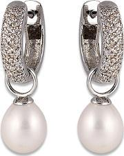 Perlissimo , Cz Hoop Freshwater Pearl Drop Earrings S02e-2508