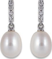 Perlissimo , Silver Cz Bar Freshwater Pearl Drop Earrings S01e-0053