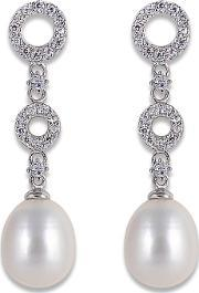 Perlissimo , Silver Cz Circles Freshwater Pearl Earrings S02e-2511