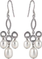 Perlissimo , Silver Triple Freshwater Pearl Drop Earrings S02e-2505
