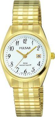 Pulsar , Ladies Gold Plated Expandable Watch Ph7444x1