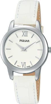 Pulsar , Ladies White Leather Watch Prw019x1