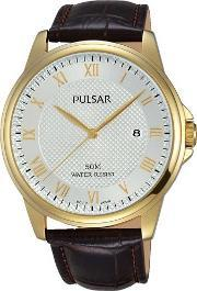 Pulsar , Mens Dress Gold Plated Strap Watch Ps9446x1