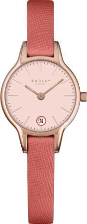 Radley , Ladies Rose Gold Plated Pink Leather Strap Watch Ry2382