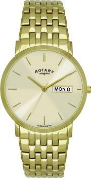 Rotary , Mens Gold Plated Bracelet Watch Gb02624-03-dd