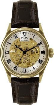 Rotary , Mens Gold Skeleton Watch Gs0294103