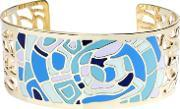 Sdj , Gold Plated Blue And Green Mosaic Open Bangle Ba01350(3)-888