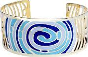 Sdj , Gold Plated Blue And White Enamel Circles Bangle Ba01356(4)-888