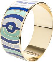 Sdj , Gold Plated Blue White And Green Enamel Bangle Ba01186(l)-888