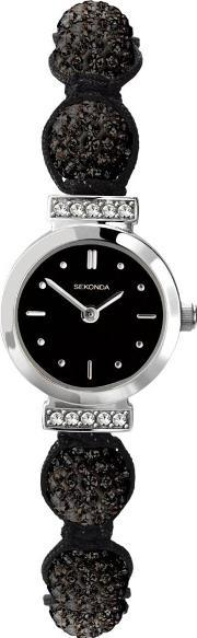 Sekonda , Ladies Black Crystalla Watch 4717