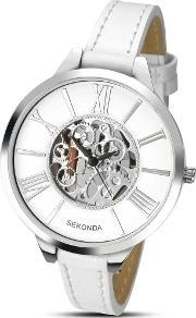 Sekonda , Ladies Skeleton Dial White Strap Watch 2312