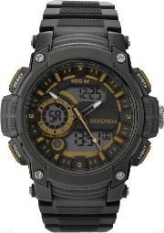Sekonda , Mens Black Analogue Digital Strap Watch 1229