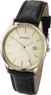 Sekonda , Mens Black Strap Watch 3697