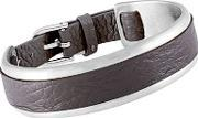 Sence , Grace Stainless Steel Brown Leather Bangle V387
