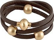Sence , Snake Gold Plated Beads Brown Leather Bracelet V303