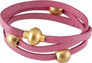 Sence , Snake Gold Plated Three Bead Pink Leather Bracelet V309