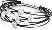 Shimla , White Crystal Synthetic Pearl Black Leather Bracelet Sh151