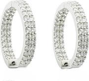 Sif Jakobs , Ladies Rhodium Plated 'lecce' White Cubic Zirconia Creole Earrings Sj-e1661-cz
