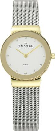 Skagen , Two Tone Mesh Round White Stone Dial Watch 358sgscd