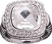 Sparkle , Clear Crystal Square Cushion Ring R089 Clr