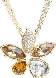 Sparkle , Clear Gold Crystal Flower Pendant N169 Gold