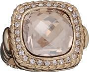 Sparkle , Gold Crystal Square Cushion Ring R089 Gold