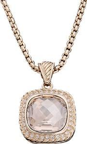 Sparkle , Gold Plated Champagne Crystal Cushion Pendant N089 Gold