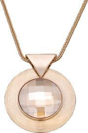 Sparkle , Gold Plated Round Clear Crystal Disc Pendant N252 1962