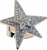 Sparkle , Pave Clear Cubic Zirconia Double Star Ring Rl053