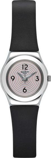 Swatch , Ladies Aim At Me Black Leather Strap Watch Yss301