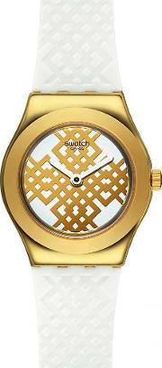 Swatch , Ladies Moucharabia Gold Plated Strap Watch Ysg149