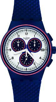 Swatch , Mens Parabordo Blue Chronograph Strap Watch Susn412