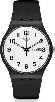 Swatch , Unisex Twice Again Black Strap White Dial Watch Suob705