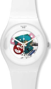 Swatch , White Lacquered Skeleton Dial Watch Suow100