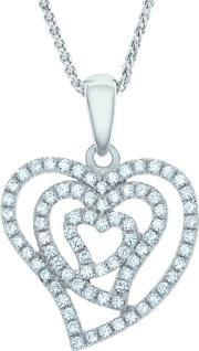 The Real Effect , Ladies Sterling Silver Cubic Zirconia Open Heart Pendant Re22034