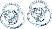 The Real Effect , Ladies Sterling Silver Cubic Zirconia Open Knot Stud Earrings Re29334