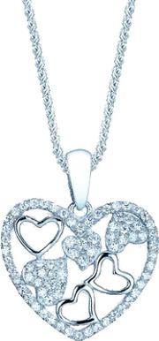 The Real Effect , Ladies Sterling Silver Cubic Zirconia Pave Open Hearts Pendant Re30014