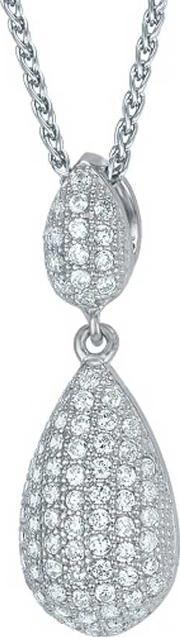 The Real Effect , Ladies Sterling Silver Cubic Zirconia Pave Teardrop Pendant Re8404