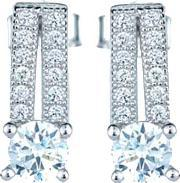 The Real Effect , Ladies Sterling Silver Cubic Zirconia Round Pave Bar Dropper Earrings Re12174