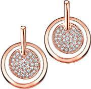 The Real Effect , Ladies Two Tone Cubic Zirconia Pave Disc Dropper Earrings Re28774