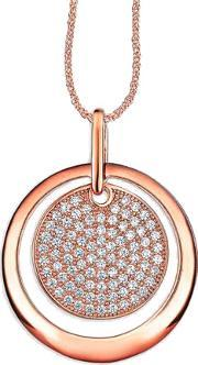 The Real Effect , Ladies Two Tone Cubic Zirconia Pave Disc Pendant Re28784