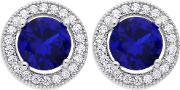 The Real Effect , Silver Blue Cubic Zirconia Studs Re15724 Sp Cz