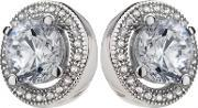 The Real Effect , Silver Clear Cz Round Cluster Stud Earrings Re15724