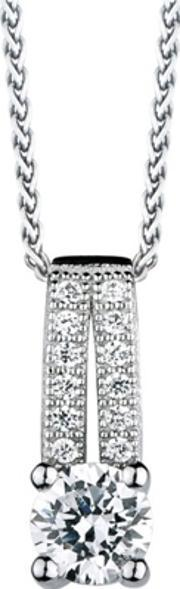 The Real Effect , Silver Round Cubic Zirconia Pave Bar Pendant Re12004