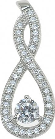 The Real Effect , Silver Round Cz Pave Figure 8 Pendant Re15104