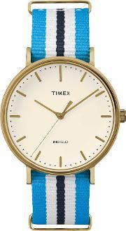 Timex , Weekender Ladies Gold Plated Fabric Strap Watch Tw2p91000