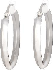 Tjh Collection , 9ct White Gold Creole Hoop Earrings 5.52.7679