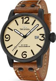 Tw Steel , Mens Brown Leather Strap Watch Twms41